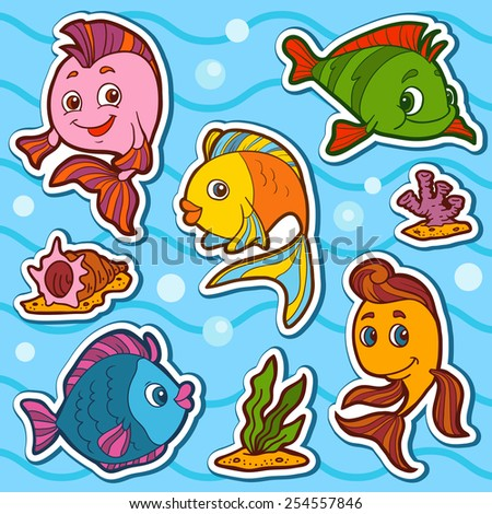 set of cute fish and natural