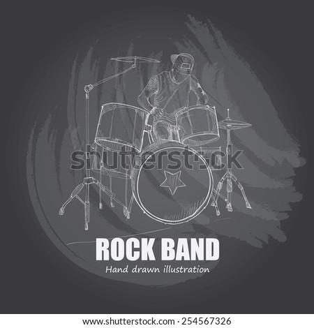 illustration of rock band drum