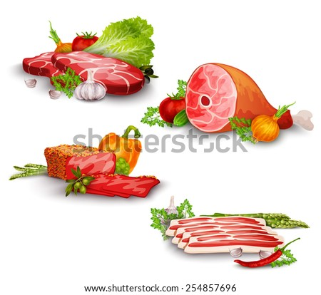meat pork and beef steaks with