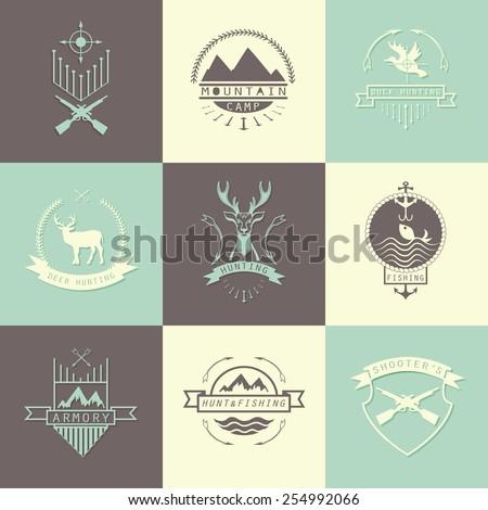 set of camping and  hunting