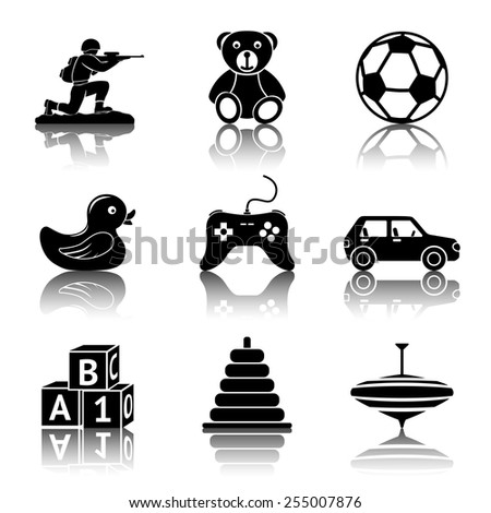 toys monochrome icons set with