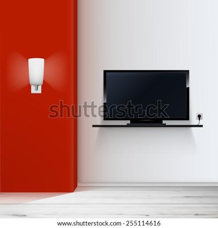 empty room with tv minimal