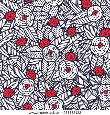 flowers and ladybirds seamless