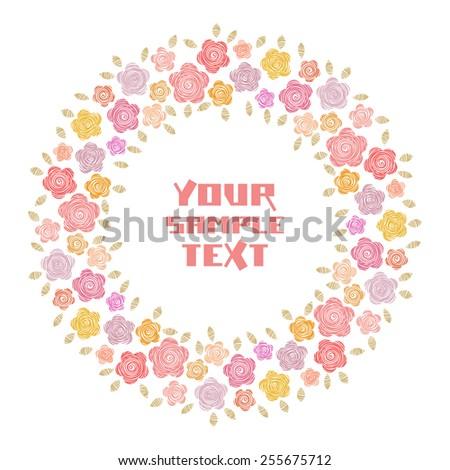 vector circle floral frame