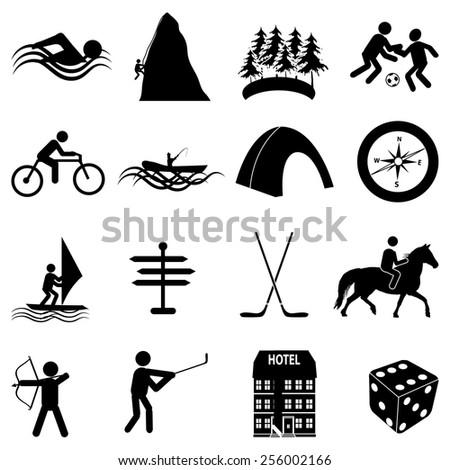 leisure adventure icons set