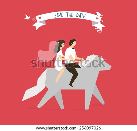 wedding couple on horse