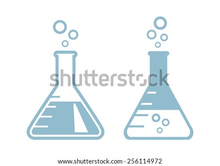 laboratory glass icons on white
