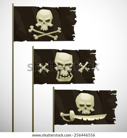 three cartoon pirate flags