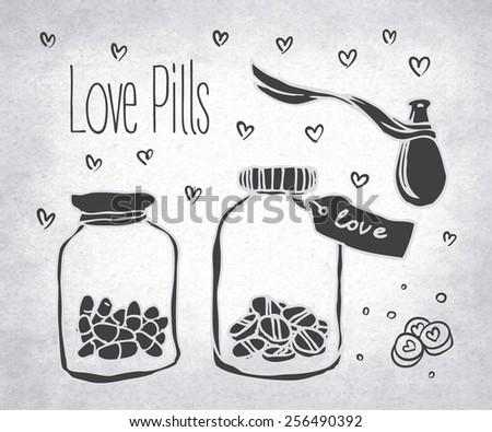 love pills  bottle jar with