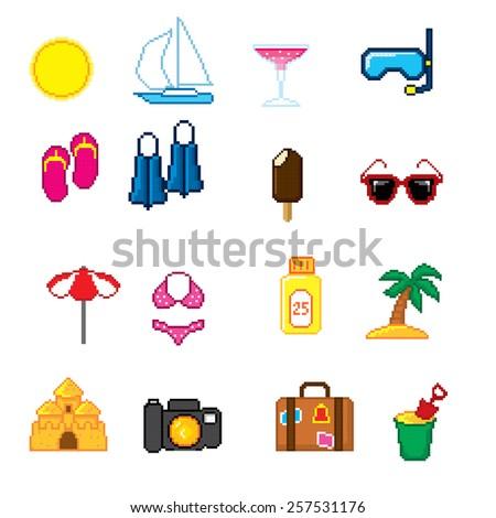 summer vacation set pixel art
