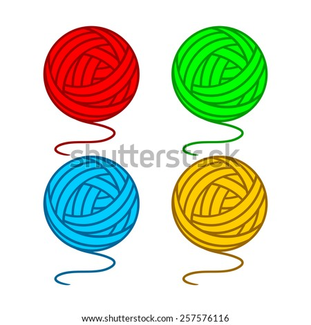 set of balls of a yarn on a