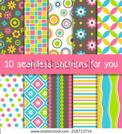 set of 10 seamless bright fun