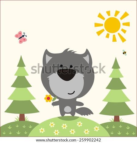 cute little wolf funny wolf in