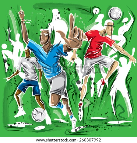 soccer players artwork sketch