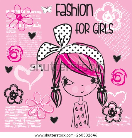 cute fashionable girl  t shirt