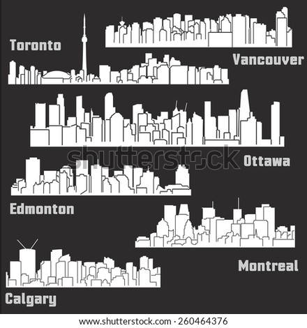set of 6 cities of canada