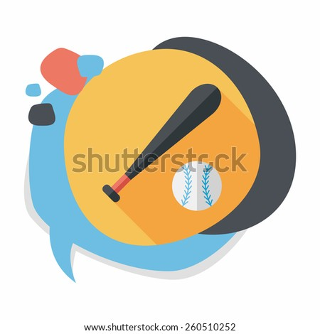 baseball flat icon with long
