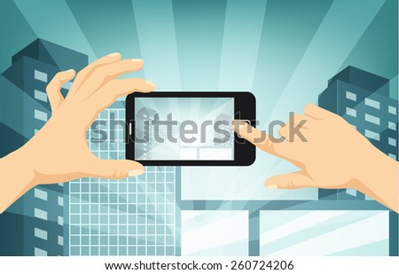 hands with camera taking photo