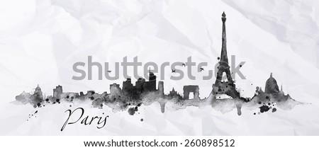 silhouette paris city painted