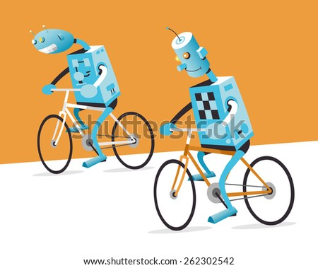 two robots on a bike  vector