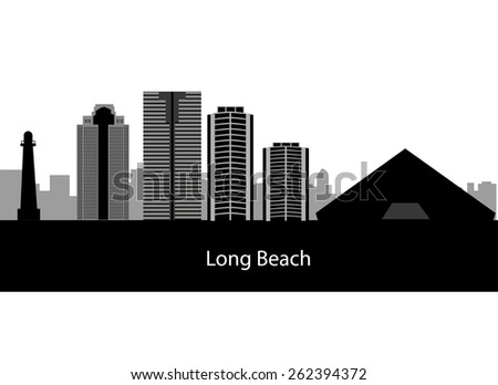 long beach skyline in editable