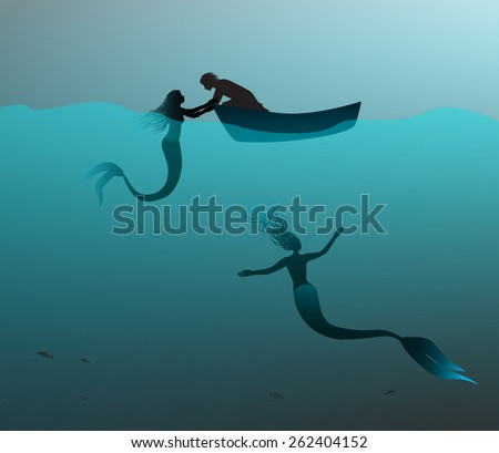 mermaids and man on boat  lure