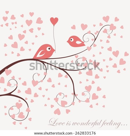vector card birds fall in love