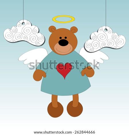 bear love angel vector