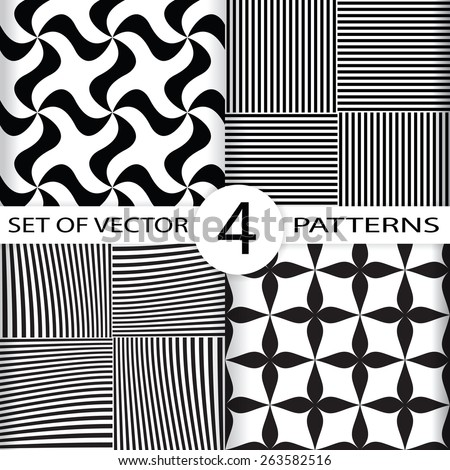 set of 4 simple seamless vector