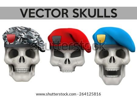 set of vector human skulls with