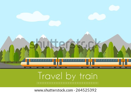 train on railway with forest