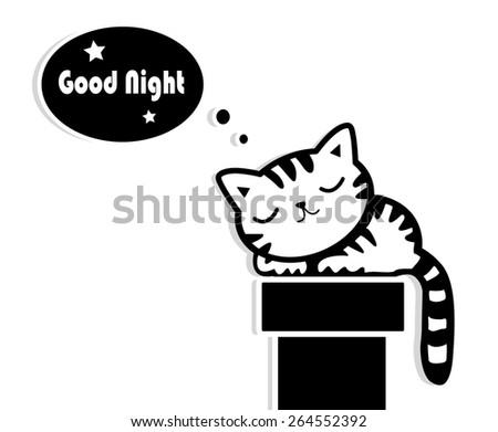 good night sleeping cat