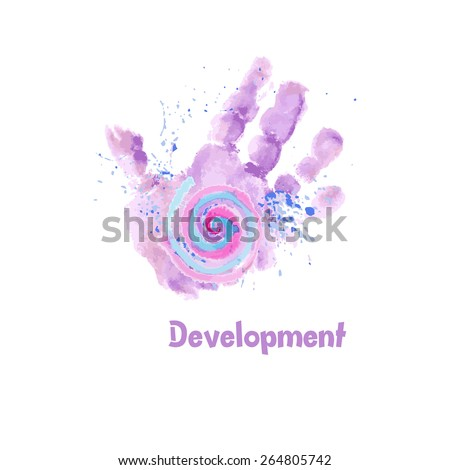 watercolor baby hand print