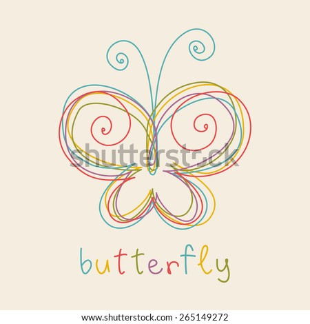 vector butterfly doodle icon