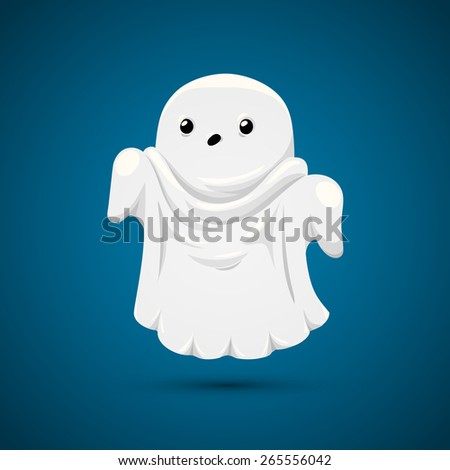 funny ghost on blue background
