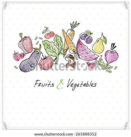 fruit and vegetables food sign