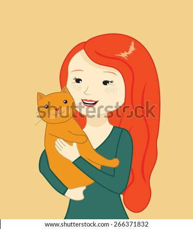 beautiful girl holding a cat