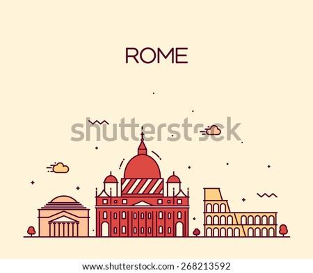 rome city skyline detailed