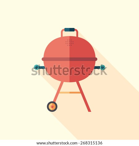 barbecue time flat square icon