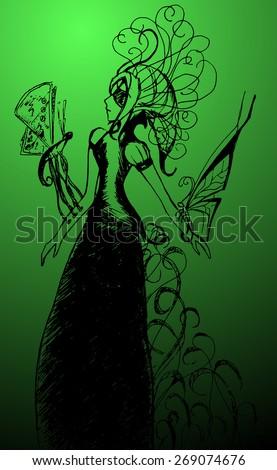 butterfly girl monochrome