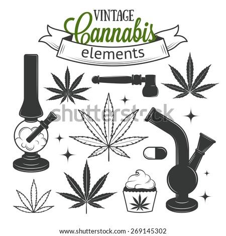 set of medical vintage cannabis