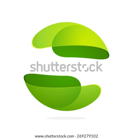 abstract green leaf sphere logo
