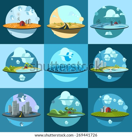 set of landscapes icons