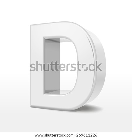 3d white alphabet d isolated on