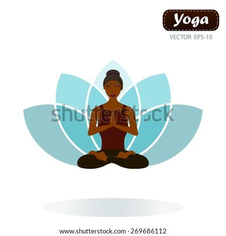 woman doing yoga lotus position