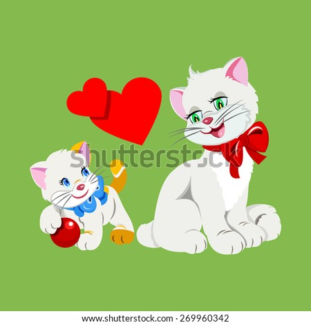 vector flat illustration cat