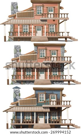 three types of houses with two