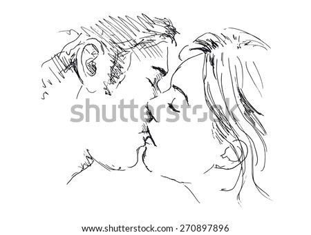 hand drawing kiss
