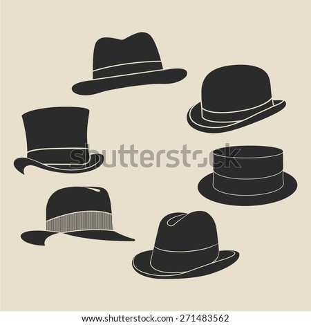 vintage man's hat label set