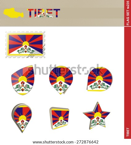 tibet flag set  flag set  235
